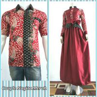 Batik Couple Kemeja Pria dan Dress Gamis Wanita Kombinasi Busui Modern