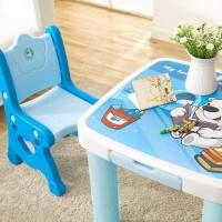 Satu set Meja+Kursi belajar, makan anak warna Biru Motif Bear