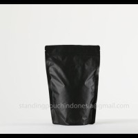 Kemasan Kopi Standing Pouch 100G (Valve + Zipper) Hitam *Premium*