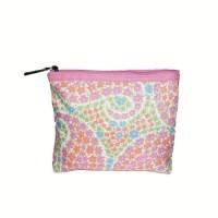 dompet wanita kekinian Clinique Kosmetik Pink Motif Hijau