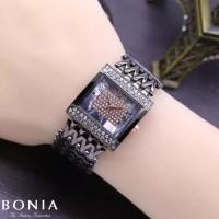 Jam tangan bonia rantai super wanita / jtr 591 hitam full