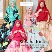 Silvana Kids by OriNaura, setelan dress/gamis anak monalisa+jilbab