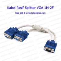 Kabel Pasif VGA splitter (cabang) 1 male ke 2 female - Y VGA Cable