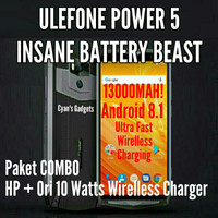 HP 4G ULEFONE POWER 5 13000MaH 6GB/64GB + 10Watt ORI WIRELESS CHARGER