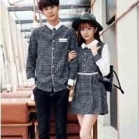 Termurah Berkualitas Dress Couple Kotak Lengan Panjang - Baju Pasangan
