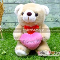 Boneka Teddy Bear Love Coklat Kecil ( HK - 470115 )