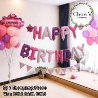 SET Balon Foil Huruf Happy Birthday isi 13 huruf - UNGU PASTEL