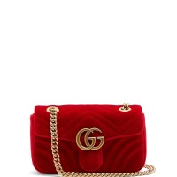 GUCCI GG MARMONT SMALL QUILTED RED VELVET CROSSBODY BAG ORIGINAL