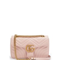 GUCCI GG MARMONT SMALL QUILTED LIGHT PINK SHOULDER BAG ORIGINAL