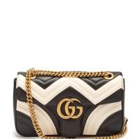 GUCCI GG MARMONT QUILTED BLACK MILK WHITE SHOULDER BAG ORIGINAL