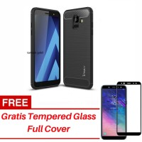 Case Samsung A6 2018 Ipaky Carbon Gratis Tempered Glass Full