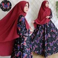 Baju Gamis Pesta Muslim Modern Remaja Syari Butterfly Busui Hitam