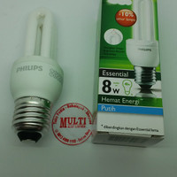 Lampu Essential Philips 8 watt putih 8w
