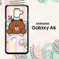 Casing Samsung Galaxy A6 2018 Custom HP Cute Line Brown LI0210