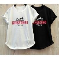 Kaos Baju Atasan Wanita Katun Hermess P*ris (all size fit to L)