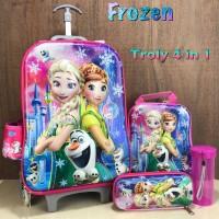 Tas Troli Ransel Sekolah Anak Frozen Olaf Pink 6D 4in1 6 Roda Import