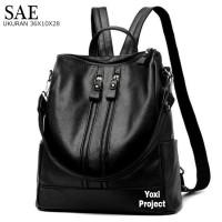 SALE!!! Tas Ransel Backpack Fashion semi Kulit Hitam SAEE