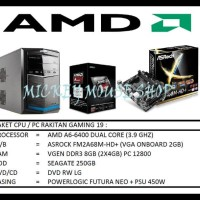 Paket Cpu / Pc Rakitan Gaming 19 /Amd A6-6400(3.7 Ghz)/ Ram 8Gb