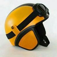 Helm retro kulit classic orange hitam kacamata