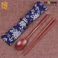 Jual Sujeo Kayu - Sendok dan Sumpit Korea Kayu + Pouch Murah
