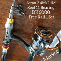 Paket Pancingan Joran 2.1M, Reel 11 Ball Bearing, Kail No 3-12 Set