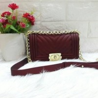 PROMO TAS MURAH FASHION IMPORT CHANEL BOY CHEVRON JELLY MATTE G.1015