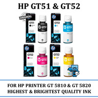 Tinta Refill Original Printer HP GT51 & GT52 Botol Black & Colour