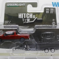 Greenlight Hitch & Tow 2015 Ford F-150 and Heavy Duty Car Hauler merah