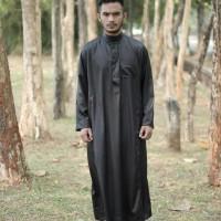 Jubah/Gamis Pria Al Haramain Hitam Polos
