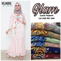 Long dress maxi wanita muslim gaun pesta brokat lace glam XL