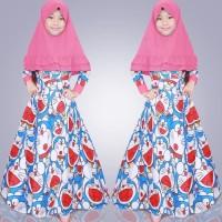 Baju Gamis Muslim Anak Perempuan/Cewek- Gamis syar'i kid doraemon pink