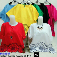 Ms 8544 blouse jumbo big size katun bordir flower ld110