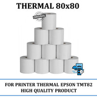 Kertas Thermal 80x80 untuk Printer Thermal contoh: Epson TMT82, 88