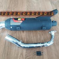 knalpot bobokan racing standart mio chrome merk csr