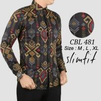 Baju batik pria slimfit/baju koko/fashion lebaran cowok lengan panjang