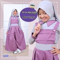 Baju Muslim Anak Stelan Overall Ales Kids Abu Ungu/Setelan Ter AGB5248