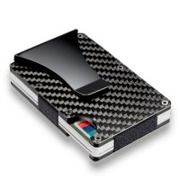 Slim Carbon Fiber Credit Card Holder RFID Blocking Metal Wallet Clip