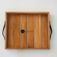 Wooden Tray with Leather / Nampan Kayu dengan Leather