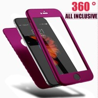 Casing HP iPhone 5 5s SE Soft Case 360 Wine Purple with Tempered Glass