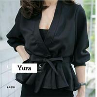 Harga dh kimono yura hitam blouse kimono pita polos busana kerja santai   Hargalu.com