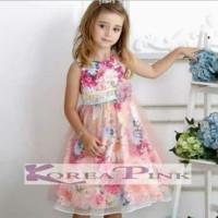 Dress Gaun Pesta Baju Anak Korea Pink Bunga Kembang Warna Warni Import