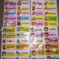 sticker label nama anak karakter waterproof