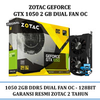 VGA Card Zotac PCIE GTX 1050 2G D5 OC DUAL FANS (Original Resmi)