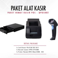 PAKET PRINTER QPOS Q58M + SCANNER EP1020 + CASH DRAWER 42x41cm