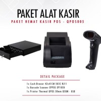 PAKET MURAH PRINTER QPOS Q58M + SCANNER EP1050 + CASH DRAWER 42x41cm