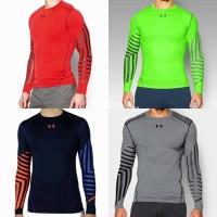 Baju Kaos Olah Raga Pria Atletik Renang Sepeda Gym Lengan Panjang