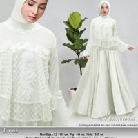 Baju Gamis Pesta Muslim Remaja Wisuda Modern Kumala Bordir Warna Putih