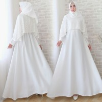 Baju Gamis Pesta Muslim Remaja Wisuda Modern Wicitra Brukat Putih