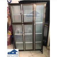 Rak piring aluminium lemari piring rak dapur kaca es 3 pintu