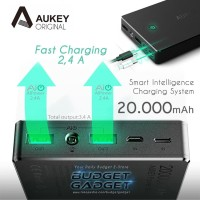 Aukey Quick Charger PowerBank Power Bank 2 Port 2 4A 20000mAh AiPowe